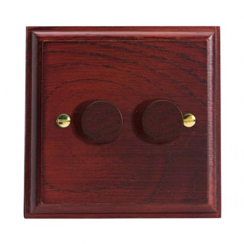 Varilight JK2M Kilnwood Mahogany 2 Gang 2-Way Push-On/Off LED Dimmer 0-120W V-Pro